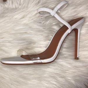 ☁️ TOPSHOP White Satin Ankle Strap Sandal